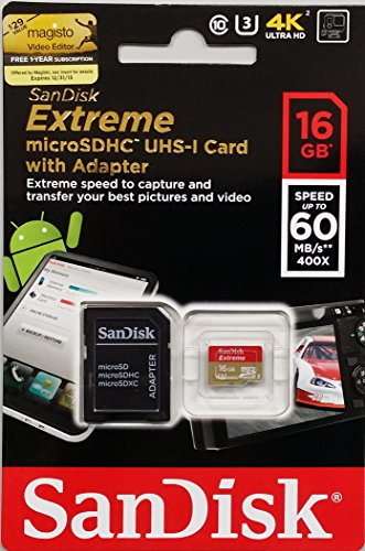 Cartão de memória MicroSDHC SanDisk 16GB Extreme Classe 10 UHS-I 60MB/s