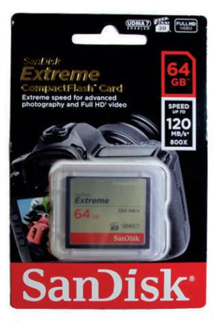 Cartão de Memória Compact Flash CF 64GB Sandisk Extreme 120MB/s