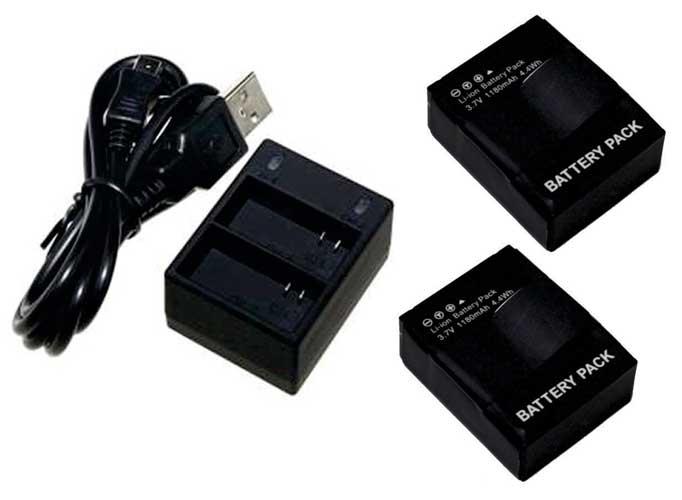 Kit 2 Baterias + carregador duplo AHDBT-301 para câmera e filmadora Go Pro 3 e 3+ Gopro HD Hero