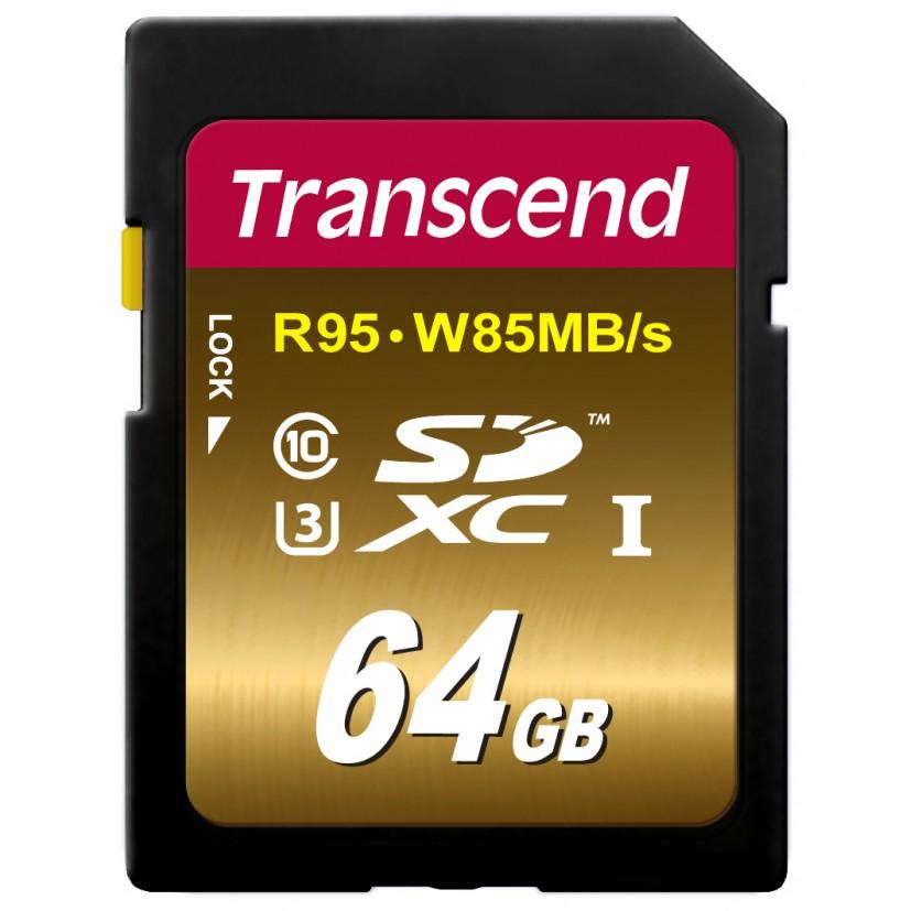 Cartão de Memória SDXC 64GB TS64GSDU3x Transcend Classe 10 Ultimate UHS-1 U3 R95MB/s W85MB/s