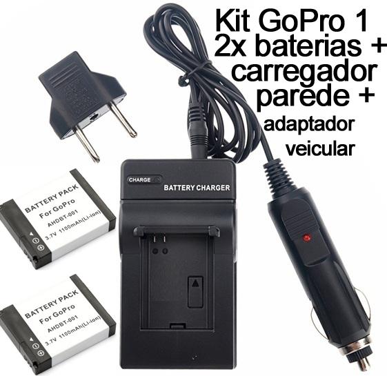 Kit 2x Baterias + carregador AHDBT-001 para câmera e filmadora Go Pro 1 e 2 Gopro HD Hero