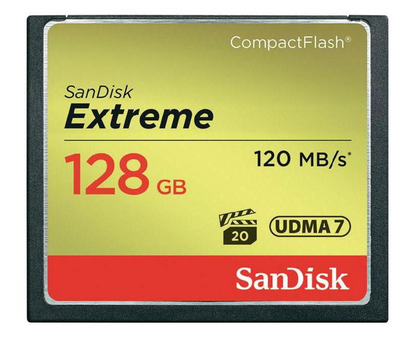 Cartão de Memória CompactFlash CF Sandisk 128GB Extreme 120MB/s