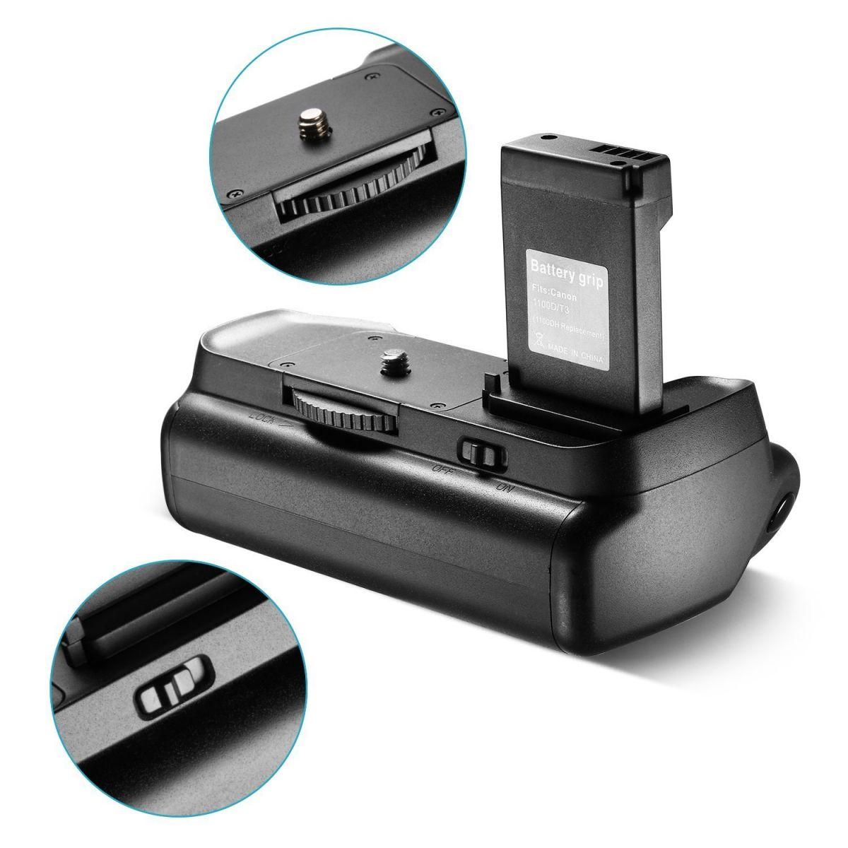 Kit Battery Grip 1100DH + 2 baterias LP-E10 + Carregador para Canon EOS Rebel T3 T5