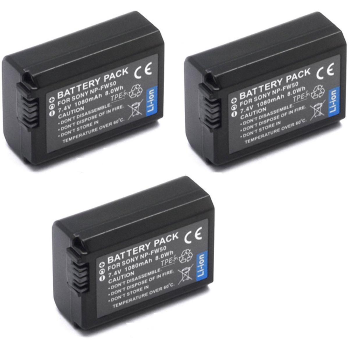 Kit 3 Baterias + 1 Carregadores NP-FW50 para câmera digital e filmadora Sony NEX-3, NEX-3A, NEX-3D, NEX-5, NEX-5K