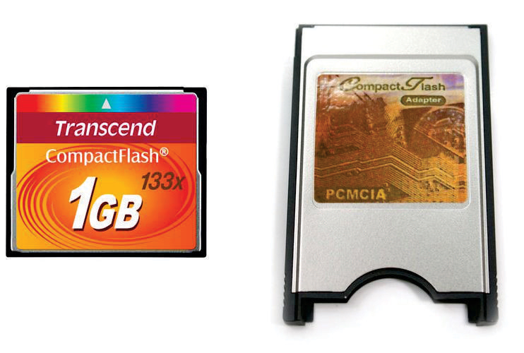 Kit Cartão Memoria Compact Flash CF 1GB Transcend 133x + Adaptador PCMCIA Universal