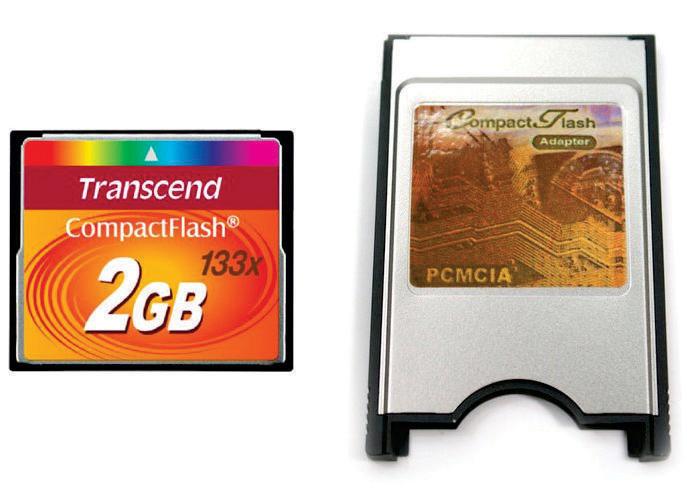 Kit Cartão de Memória Compact Flash CF 2GB Transcend 133x + Adaptador PCMCIA Universal