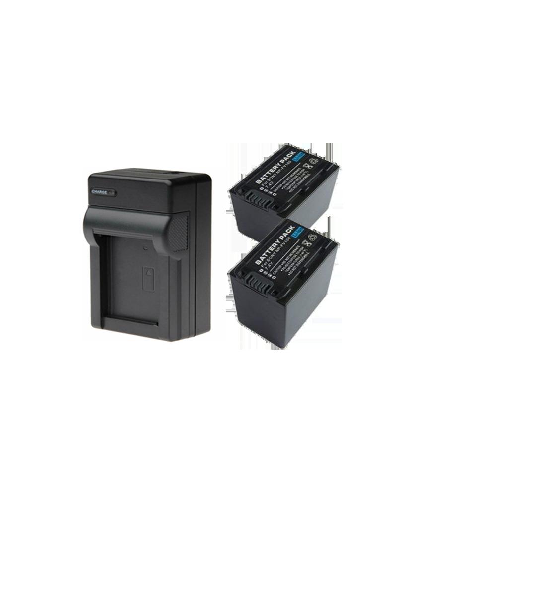 2 Baterias FV100 + Carregador para Sony HDR-XR160E, HDR-PJ50VE, DCR-SR77E, DCR-HC85E