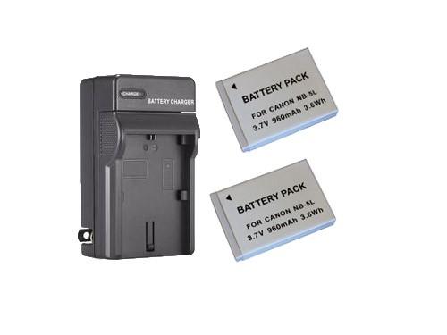 2 baterias NB-5L + Carregador NB-5L para Canon DIGITAL IXUS 30, POWERSHOT SD30, POWERSHOT SD1100