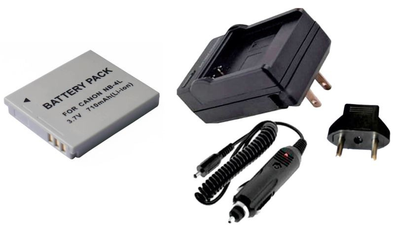 Kit Bateria NB-4L + carregador para Canon Digital Ixus 30, PowerShot SD30, PowerShot SD1100