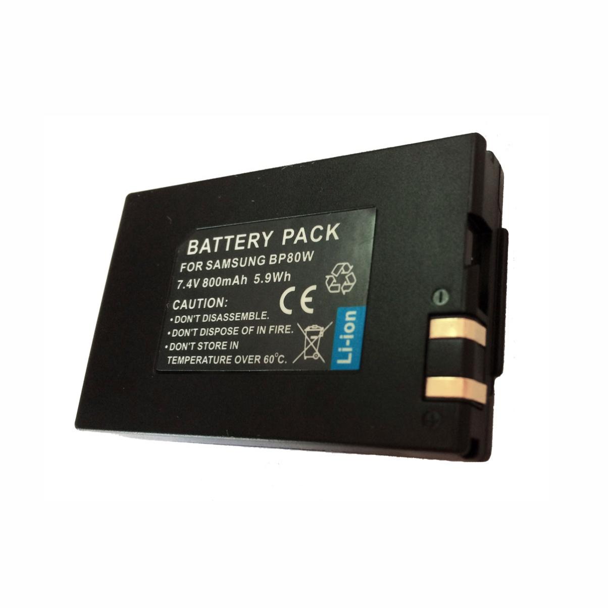 Bateria + Carregador IA-BP80W para Câmara e Filmadora Samsung SC-DX100, SC-D382