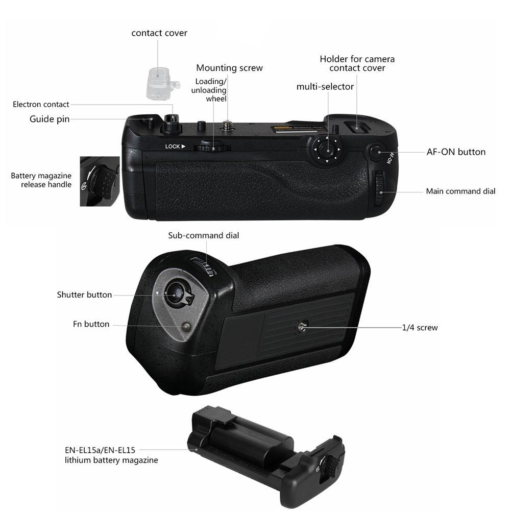 Battery Grip MB-D18 para Nikon D850 com controle remoto