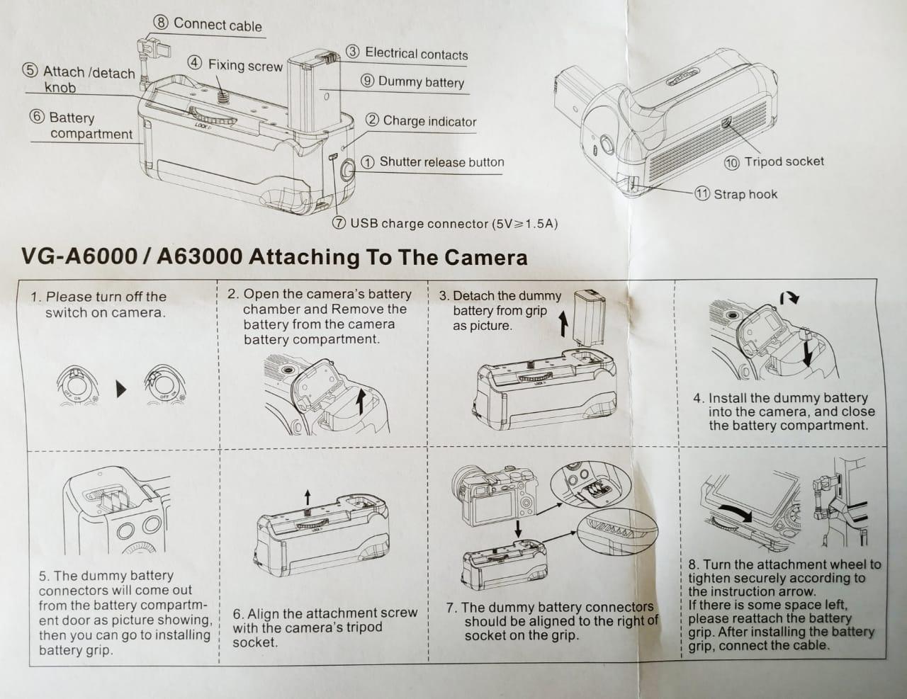 Battery Grip VG-A6300 para Sony A6300 A6000