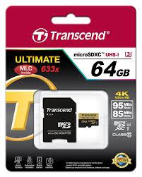 Cartão de Memória MicroSDXC 64GB Transcend Classe 10 UHS-I Ultimate 633x