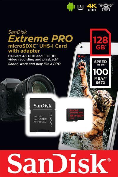Cartão de memória MicroSDXC SanDisk 128GB Extreme Pro Classe 10 UHS-3 100MB/s 4k