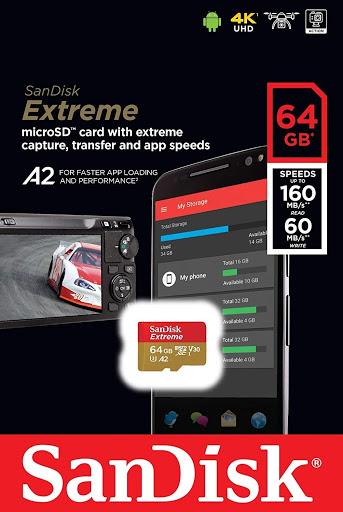 Cartão de memória MicroSDXC SanDisk 64GB Extreme Classe 10 UHS-I U3 A2 160MB/s