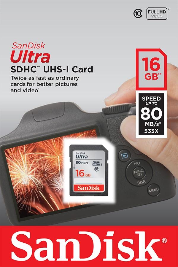 Cartão de Memória SDHC 16GB Sandisk Ultra Classe 10 80MB/s