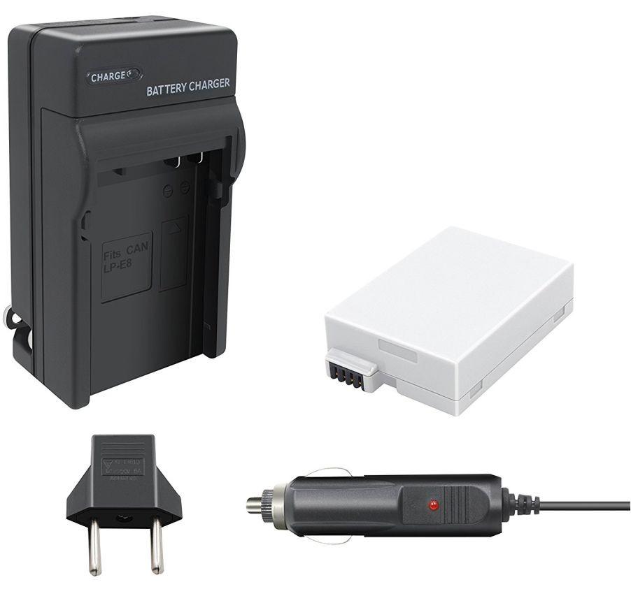 Kit 1 Bateria Canon LP-E8 + Carregador para Canon EOS Digital Rebel T2i, T3i, EOS digital SLR 550D, EOS KISS Digital x5
