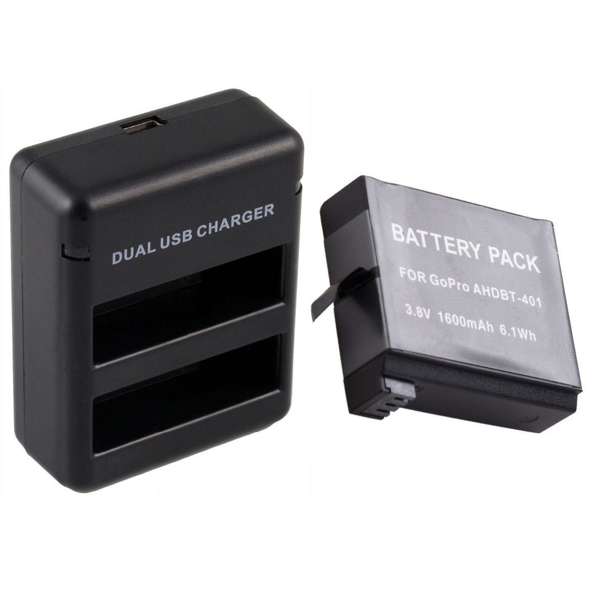 Kit 1 Bateria + Carregador Duplo Gopro Hero 4 Go Pro Ahdbt-401