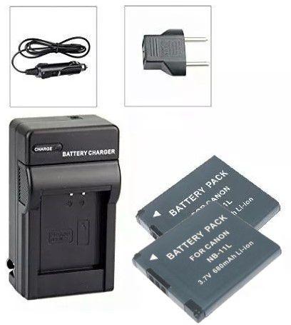 Kit 2 Bateria NB-11L + carregador para câmera digital e filmadora Canon PowerShot A2300, Digital ELPH 110 HS, Digital IXUS 125 HS