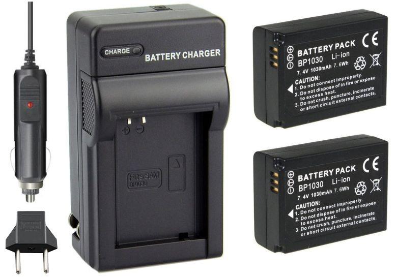 Kit 2 baterias BP-1030 + carregador para Samsung NX200 NX210 NX300 NX1000 NX2000