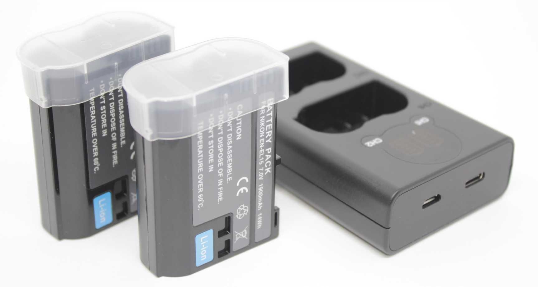 2 BATERIAS EN-EL15 + CARREG DUPLO  P/ Nikon D7000, D800, D800e, D600, D7100 e 1 V1