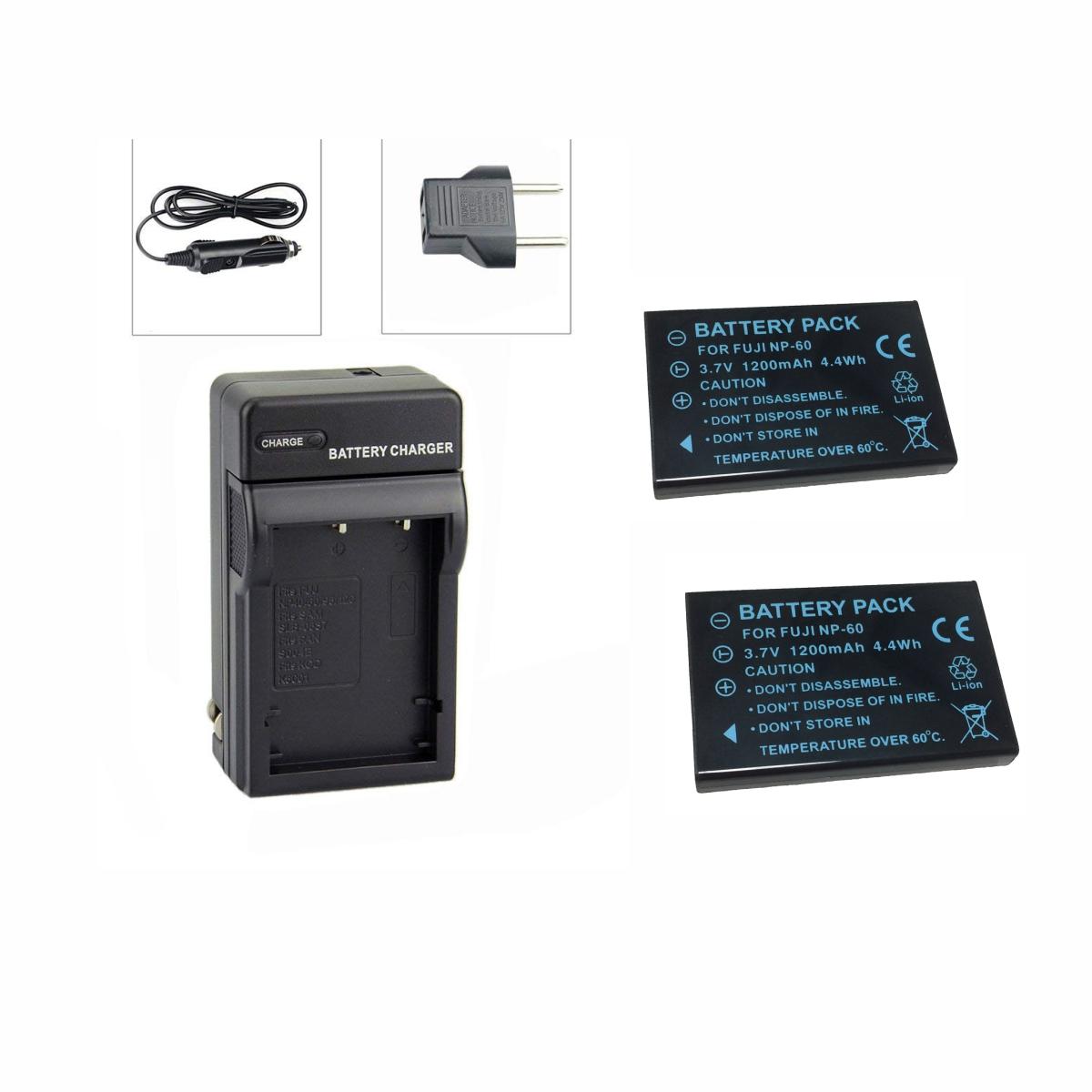 Kit 2 Baterias NP-60 + Carregador para Fuji FINEPIX 50I, 401, F401, F410, F601