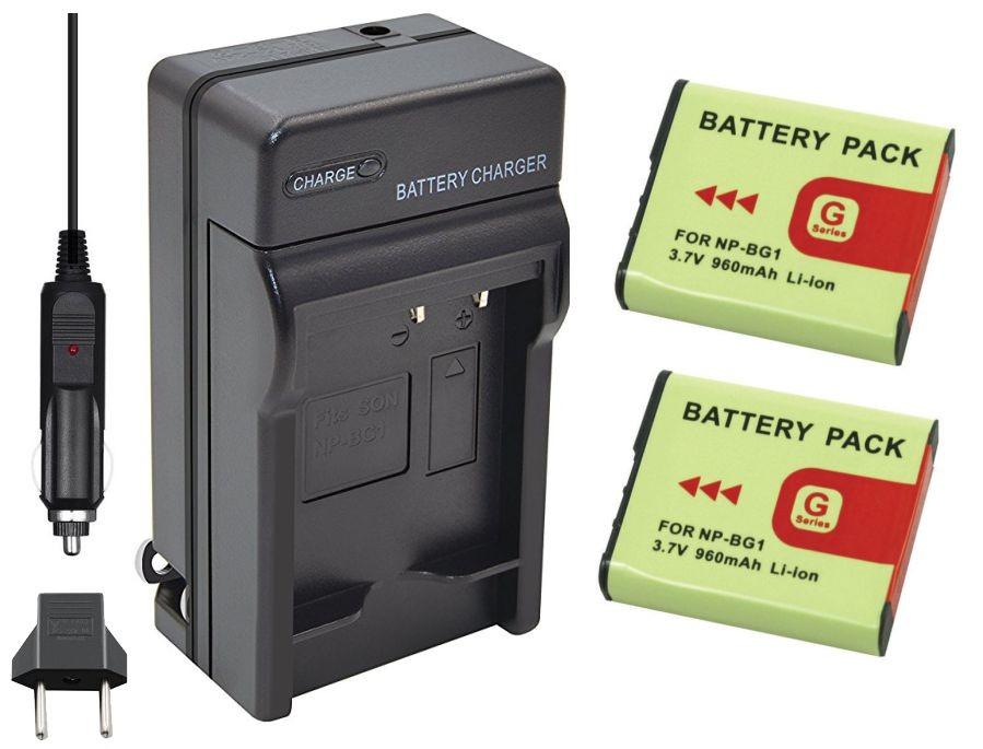 Kit 2 Baterias NP-BG1/FG1 + carregador para câmera digital e filmadora Sony Cyber-shot DSC-H10, DSC-W100, DSC-T20