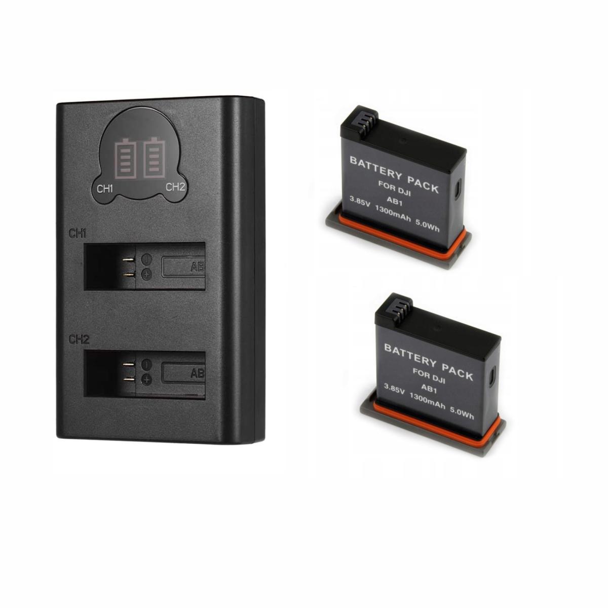 Kit 2 Baterias Osmo Action AB1 + Carregador Duplo AB1 Para DJI