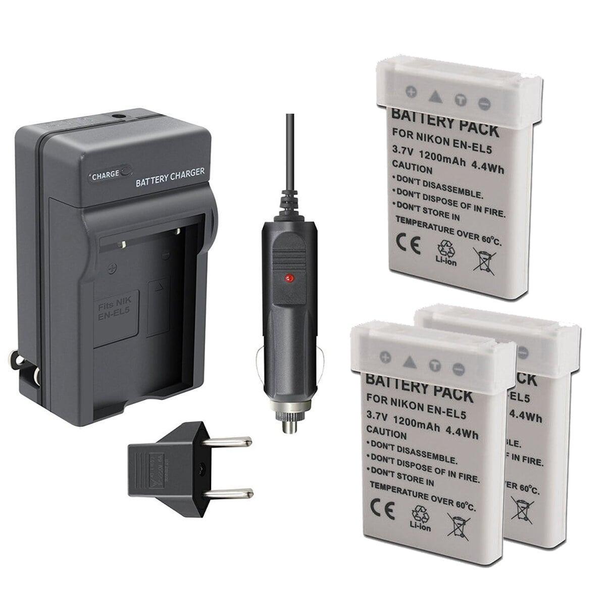 Kit 3 Baterias + Carregador En-el5 Para Nikon