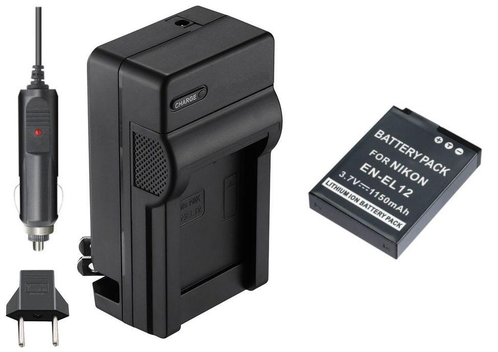 KIT BATERIA + CARREGADOR EN-EL12 1240mAh para câmera digital e filmadora Nikon Coolpix S70, S610, S620, S630, S640, S710, S1000