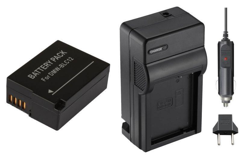 Kit Bateria DMW-BLC12 + carregador para Panasonic Lumix DMC-G85, DMC-FZ2500, DMC-GX8, DMC-G7, DMC-G6K