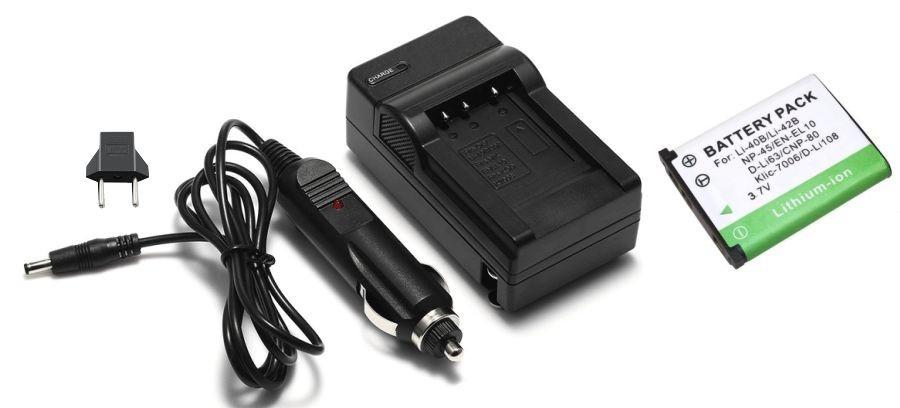 Kit Bateria Kodak Klic-7006 + carregador para EasyShare M773, M873, M883 e outras