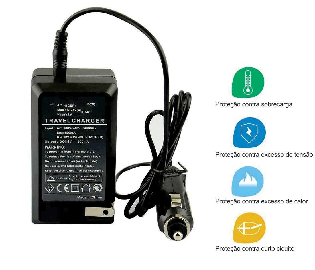 Kit Bateria NB-6L + carregador para câmera digital e filmadora Canon Digital Ixus 85 IS, IXY Digital 25IS, PowerShort SX500