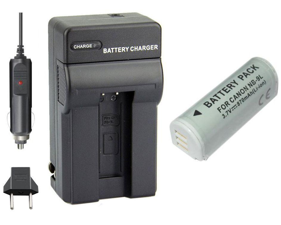 Kit Bateria NB-9L + Carregador para Canon PowerShot SD4500IS, IXUS 1000HS