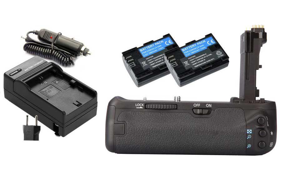 Kit Battery Grip BG-E14 para Canon EOS 70D + 2 Baterias LP-E6 + 1 Carregador