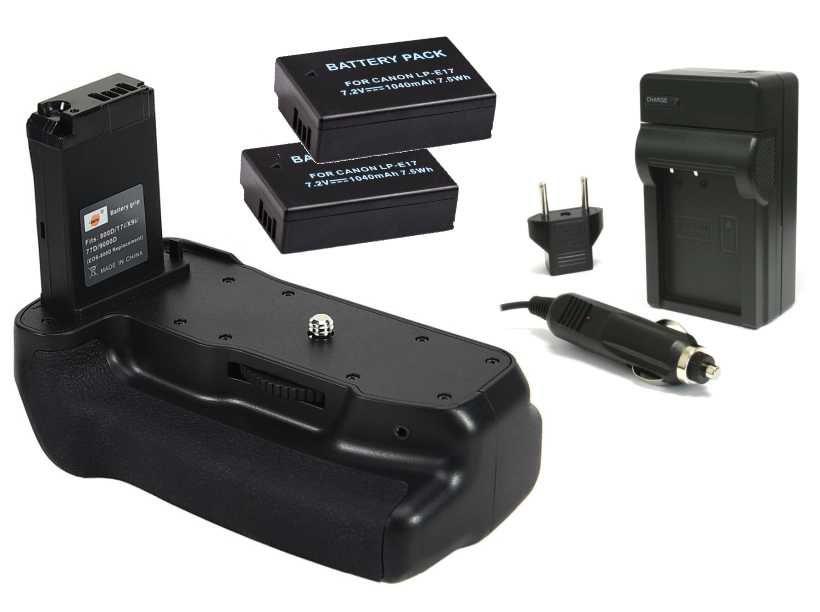 Kit Battery Grip para Canon EOS 800D, Rebel T7i, 77D, Kiss X9i + 2 Baterias LP-E17 + 1 Carregador