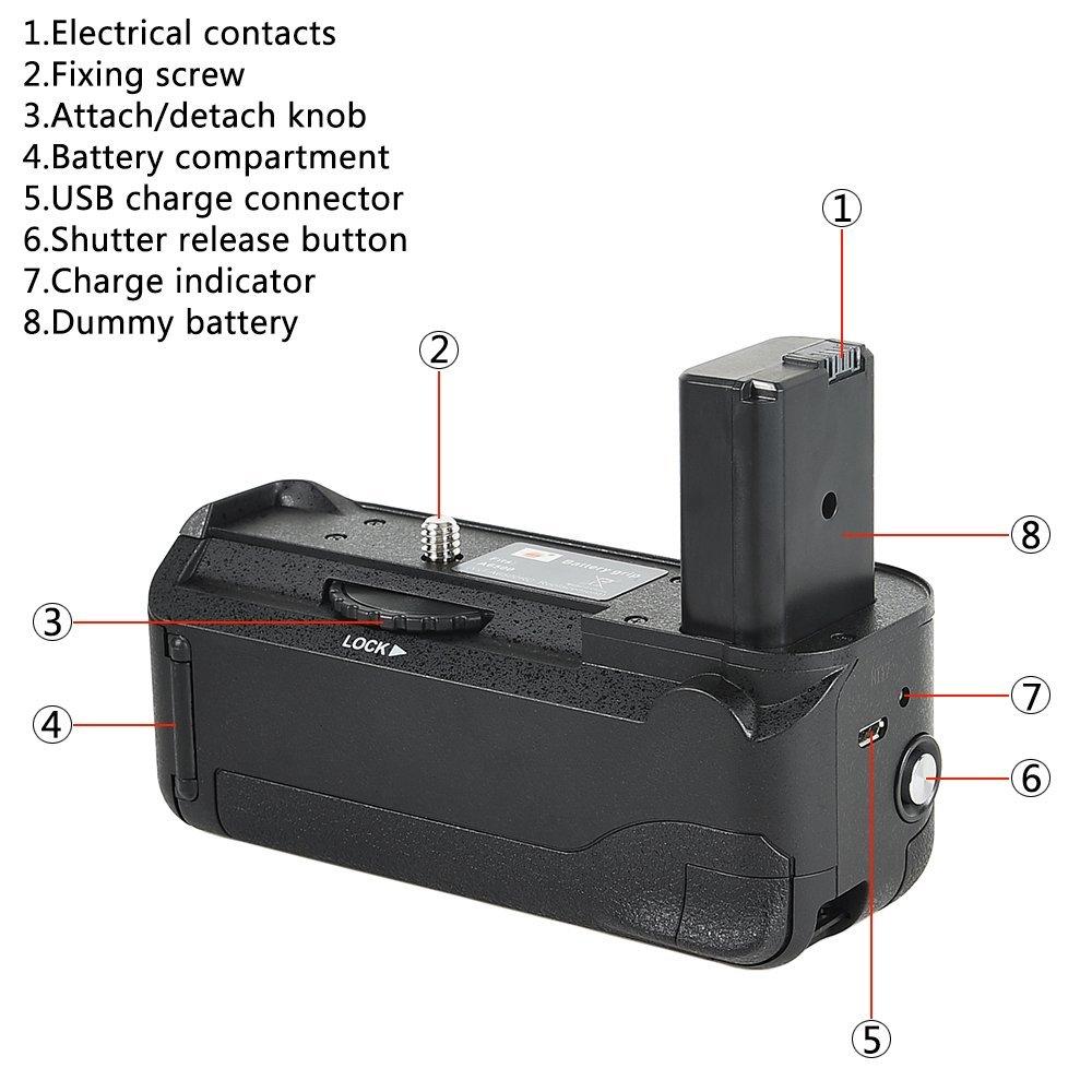Kit Battery Grip VG-A6500 para Sony A6500 + 2 baterias NP-FW50 + carregador