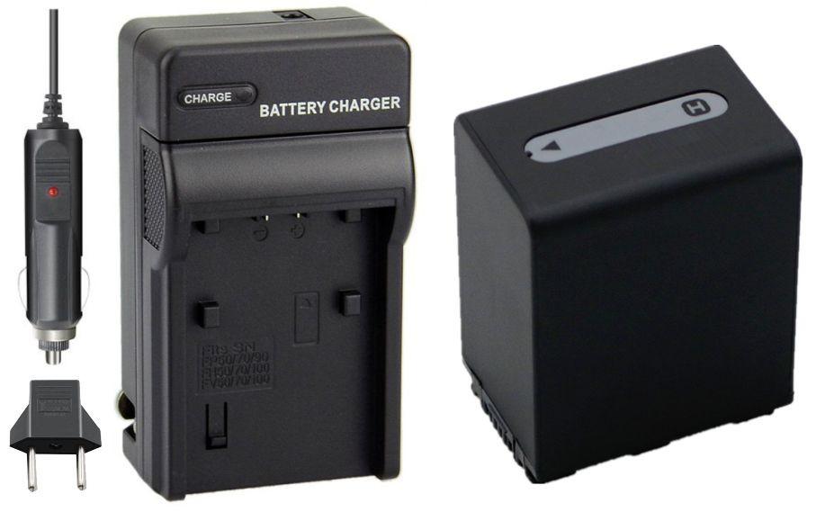 KIT Carregador + Bateria NP-FH100 3900mAh para câmera digital e filmadora Sony DCR-DVD106, DSC-HX100, HDR-HC3, HDR-CX7, HDR-SR12, HDR-XR100