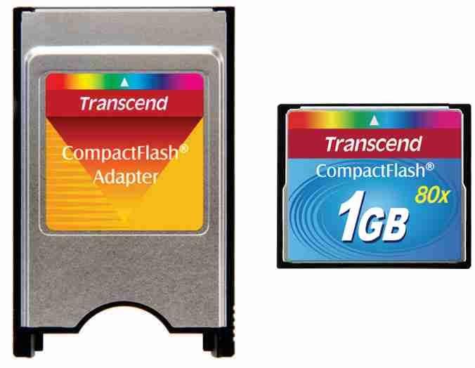 Kit CF Industrial Transcend 1GB 80 + Adaptador Pcmcia para CF