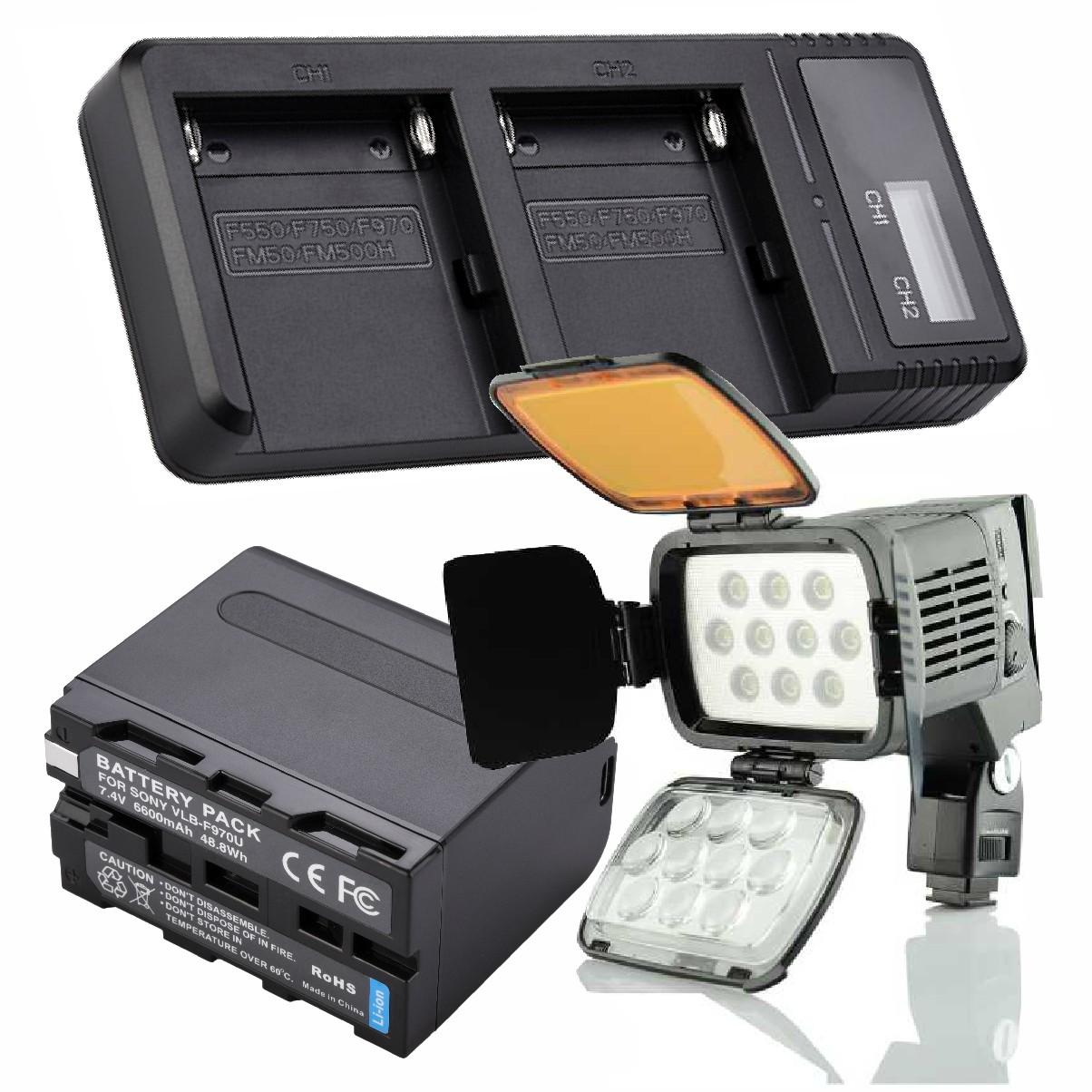 Kit Iluminador Led A 1 + Bateria F970 +  Duplo Carregador P Canon Sony Nikon