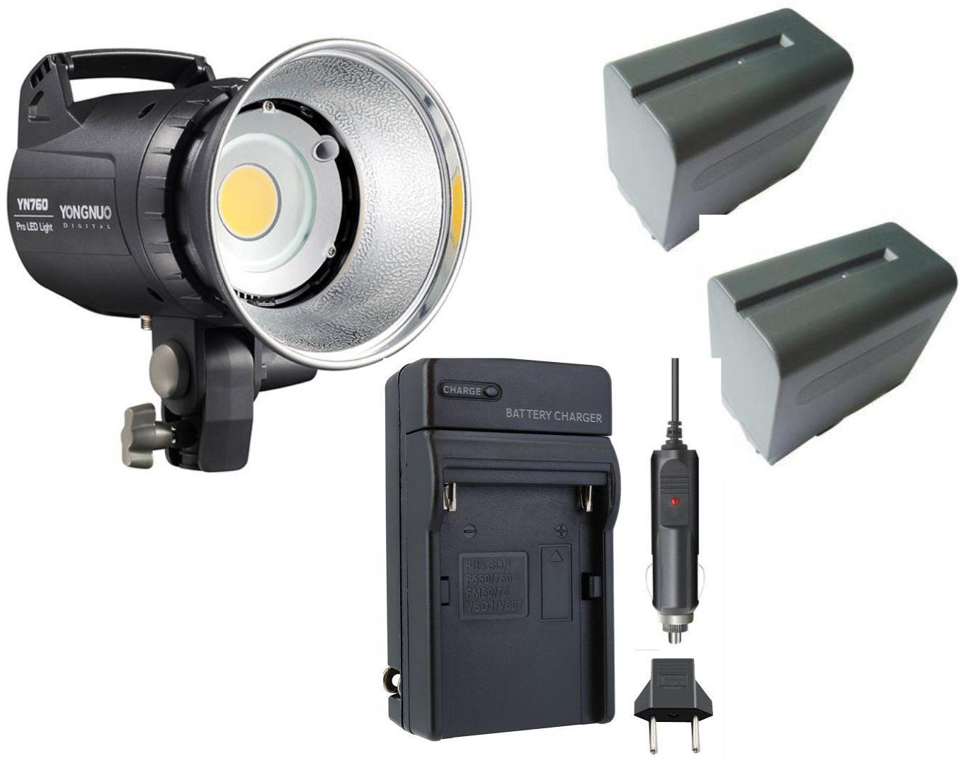 Iluminador de LED Yongnuo YN760 + 2 Baterias NP-F970 + Carregador