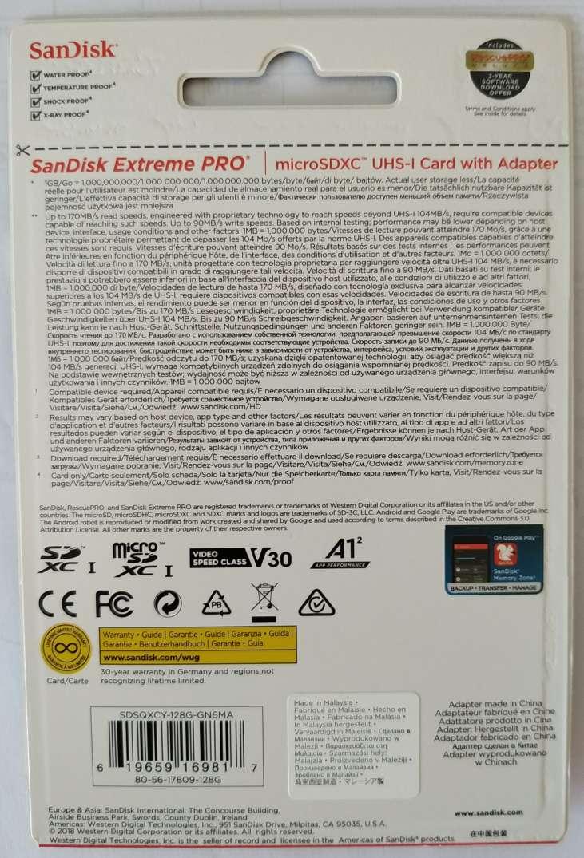 MICROSDXC 128GB Sandisk Extreme Pro 170Mb/s A2 com adaptador 90MB/S