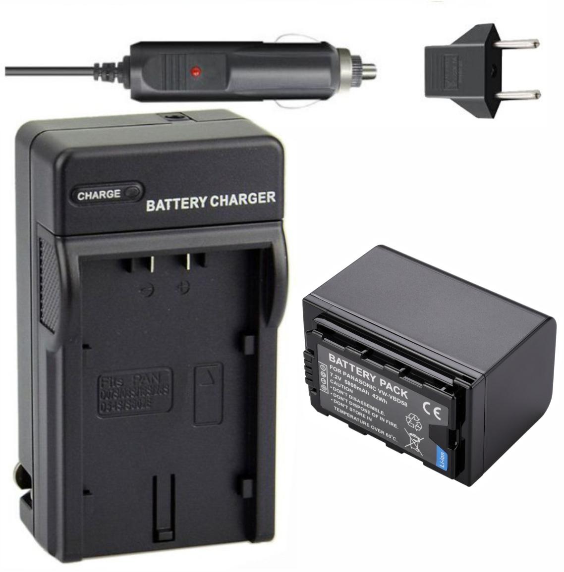 Vw-vbd58 + Carregador Para Panasonic AG-AC8 AJ-PX270 HC-X1000