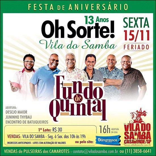 Fundo de Quintal - Vila do Samba - 15/11/19 - São Paulo - SP