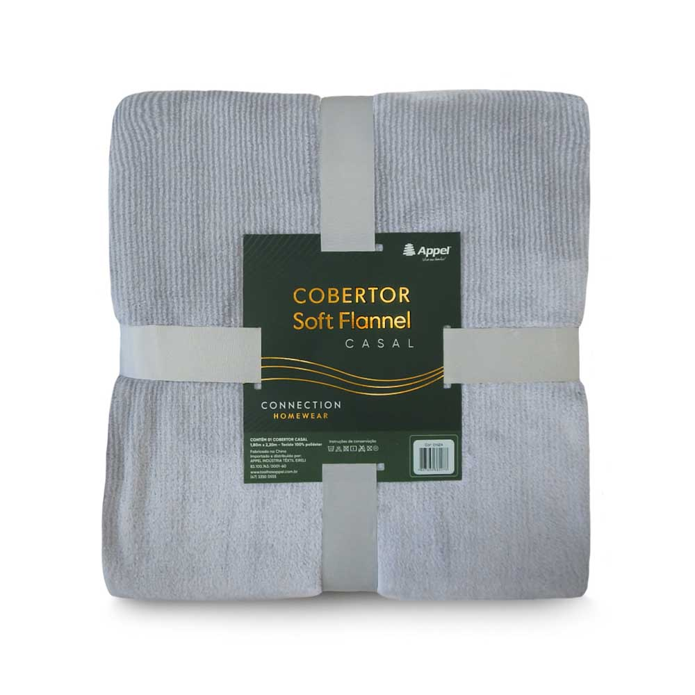 Cobertor Casal Soft Flannel Microfibra Appel - Cinza