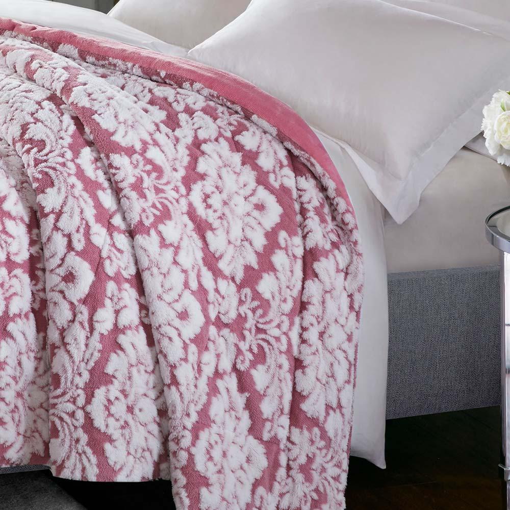 Cobertor Corttex Casal Jacquard Islandia Rosa Antigo