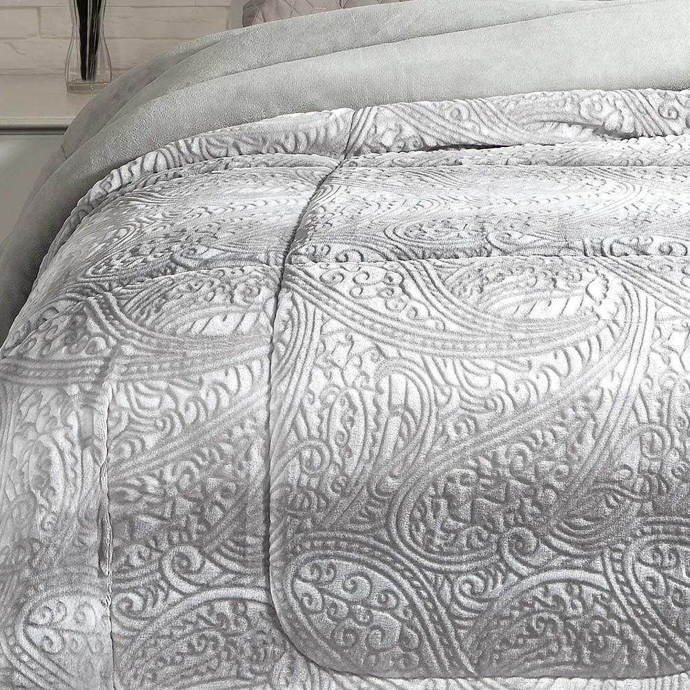 Cobertor Dupla Face Kacyumara Solteiro Extramacio Duo Blanket Cinza Bless