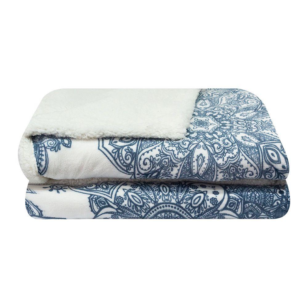 Cobertor Dupla Face Sultan Casal Realce Premium Arabesco Azul