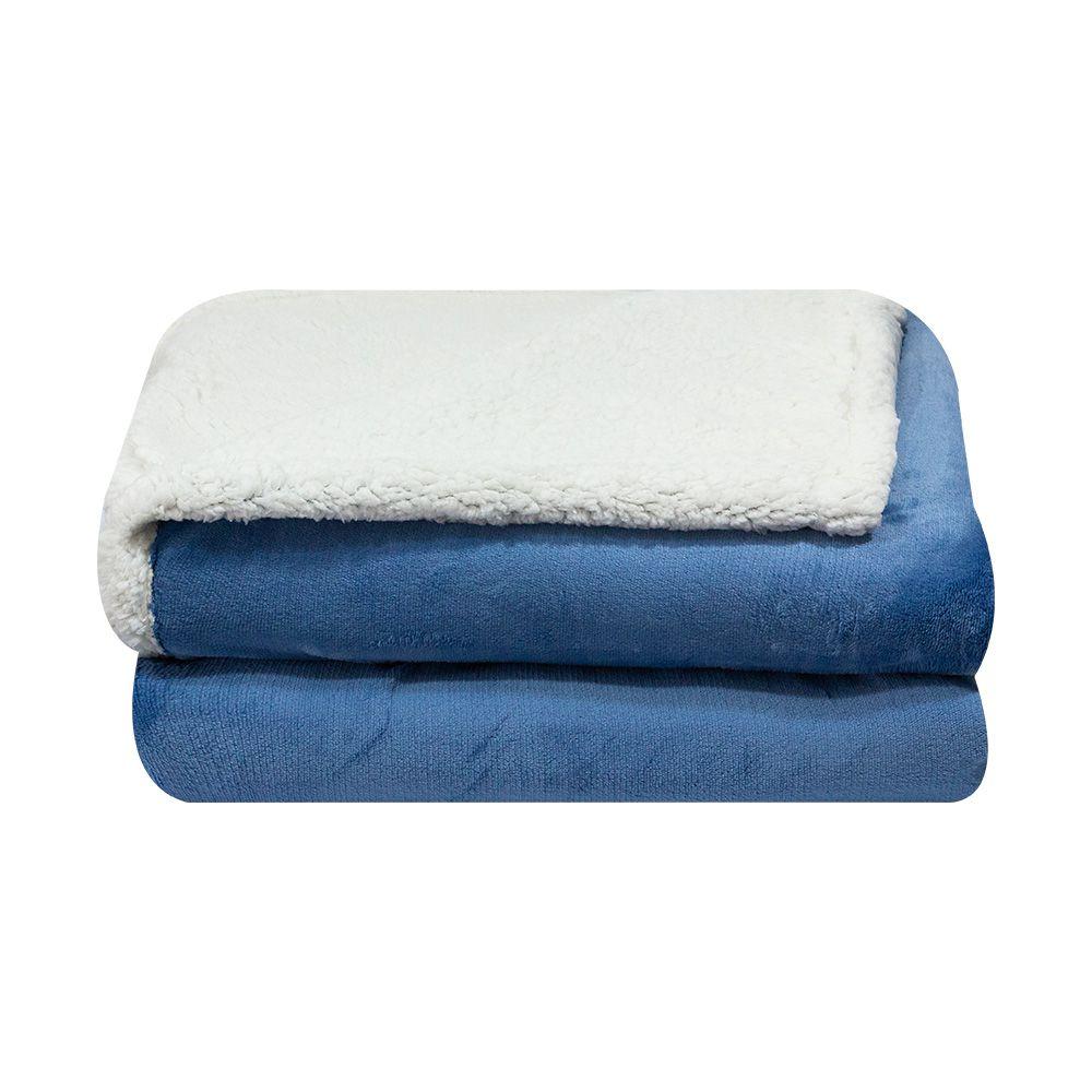 Cobertor Dupla Face Sultan Casal Realce Premium Azul Liso
