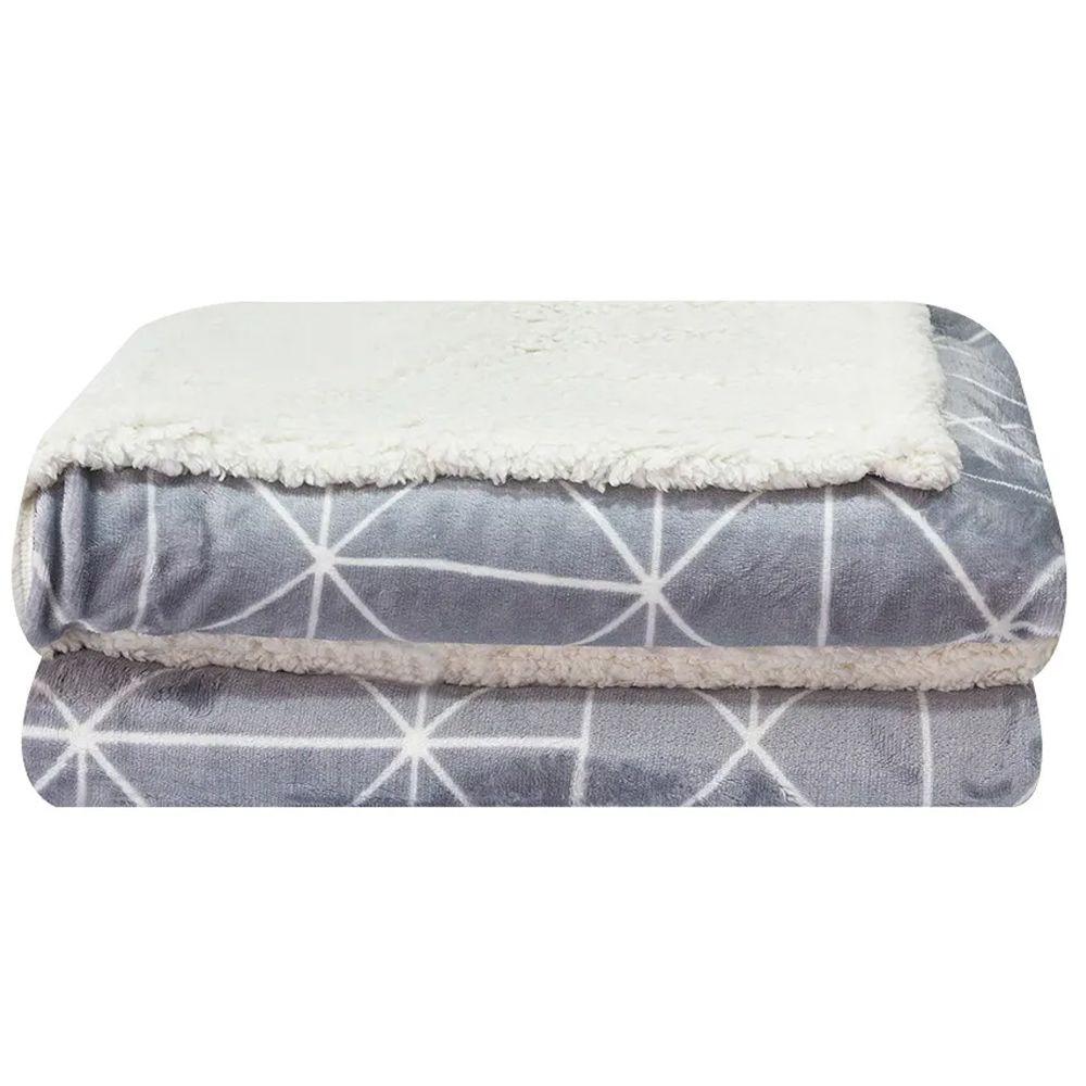 Cobertor Dupla Face Sultan Casal Realce Premium Cinza Geométrico
